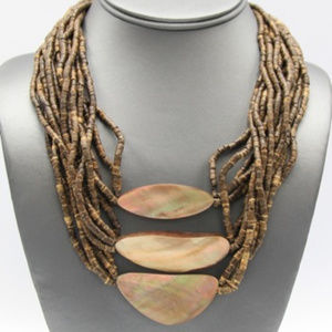 Jewelry - Abalone and Wood with Clip-on Earrings
